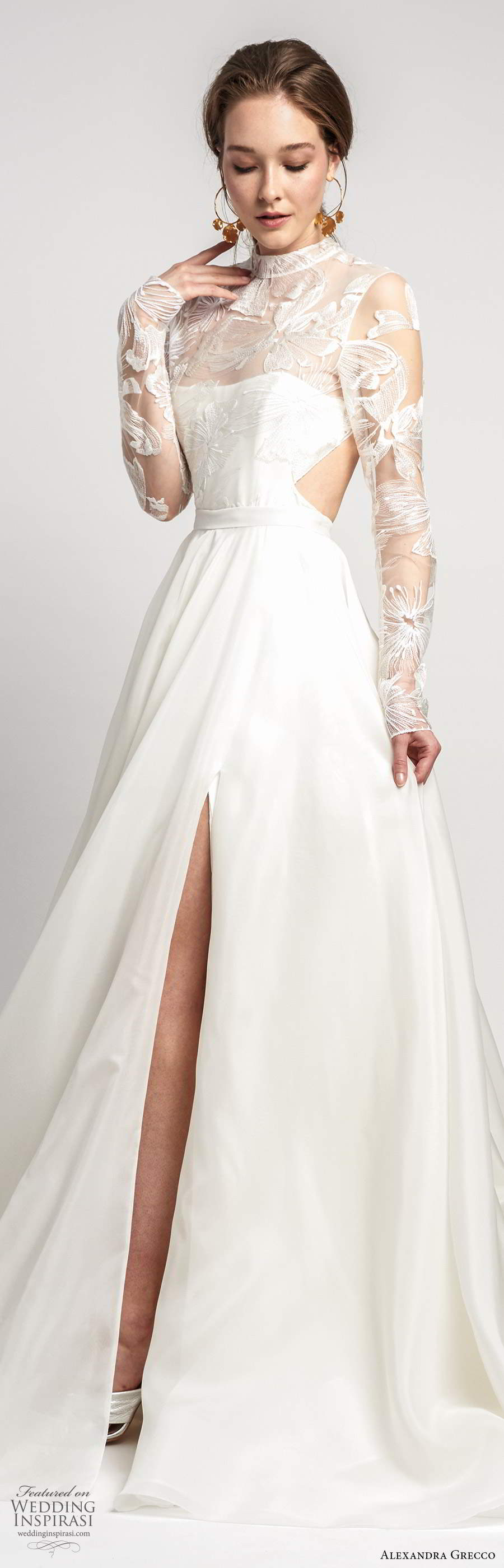 alexandra grecco 2020 bridal illusion long sleeves sheer high necklinge embellished lace bodice a line ball gown wedding dress slit skirt cutout back chapel train (3) lv