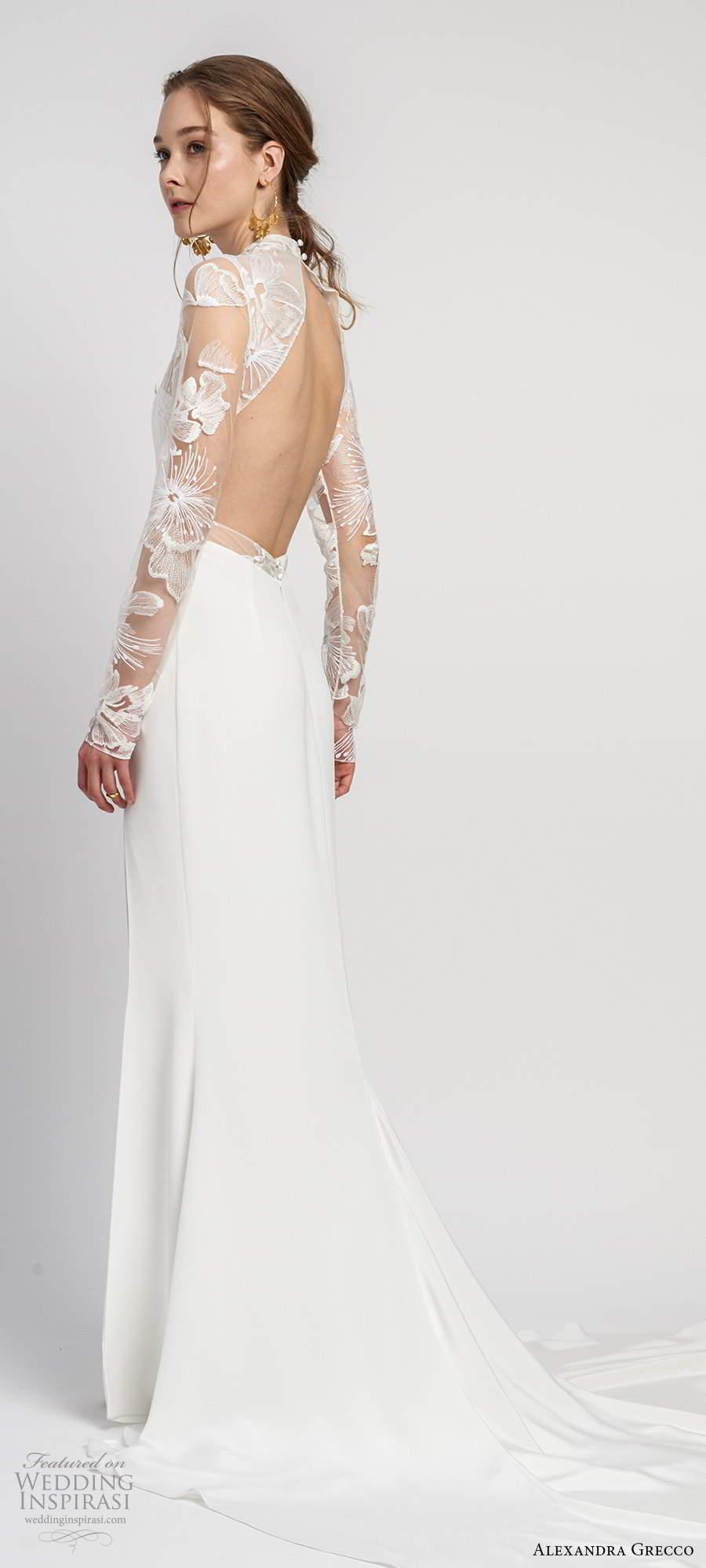 alexandra grecco 2020 bridal illusion long sleeves sheer high necklinge embellished lace bodice sheath wedding dress slit skirt cutout back cathedral train (4) bv