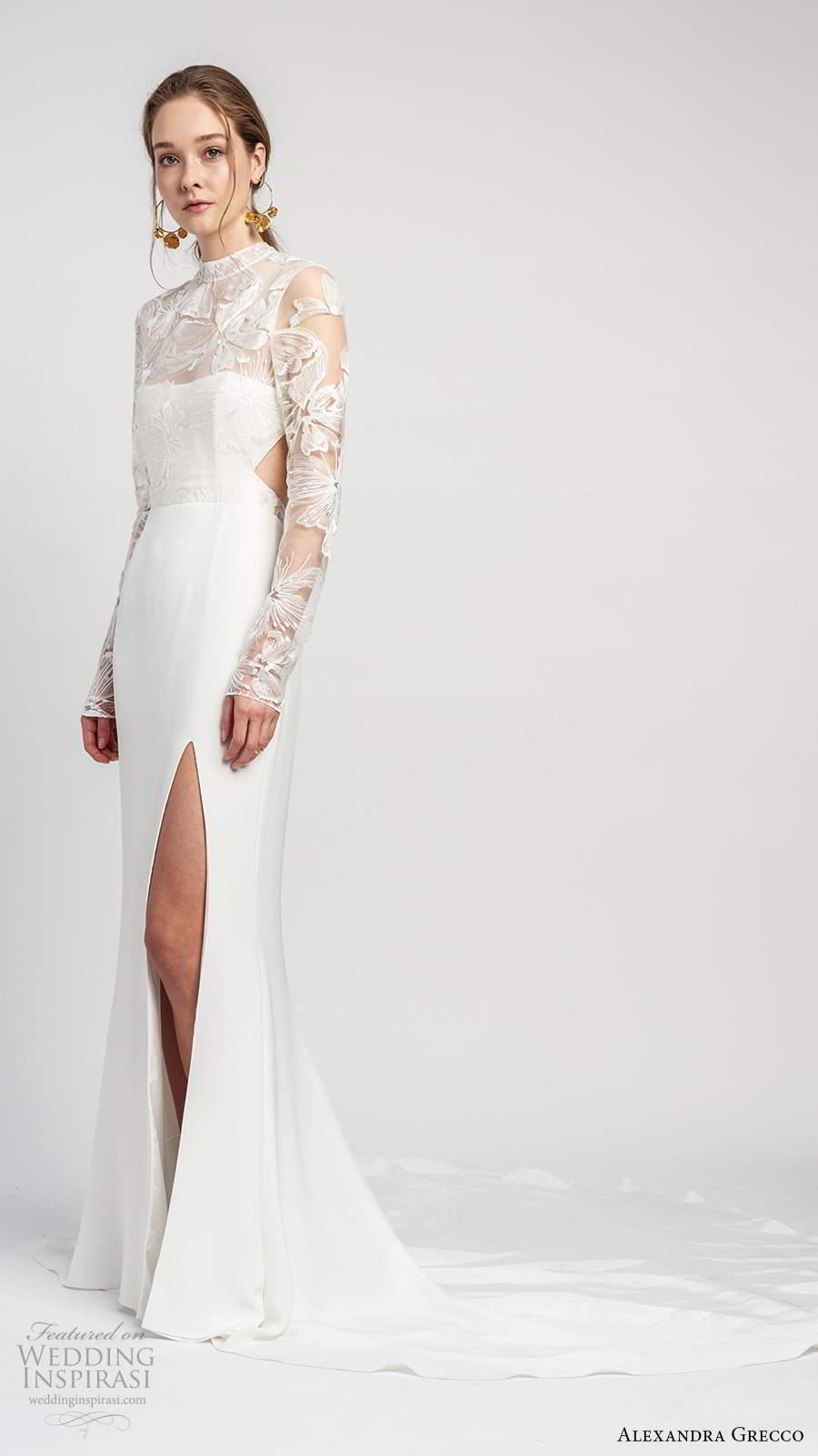 alexandra grecco 2020 bridal illusion long sleeves sheer high necklinge embellished lace bodice sheath wedding dress slit skirt cutout back cathedral train (4) mv