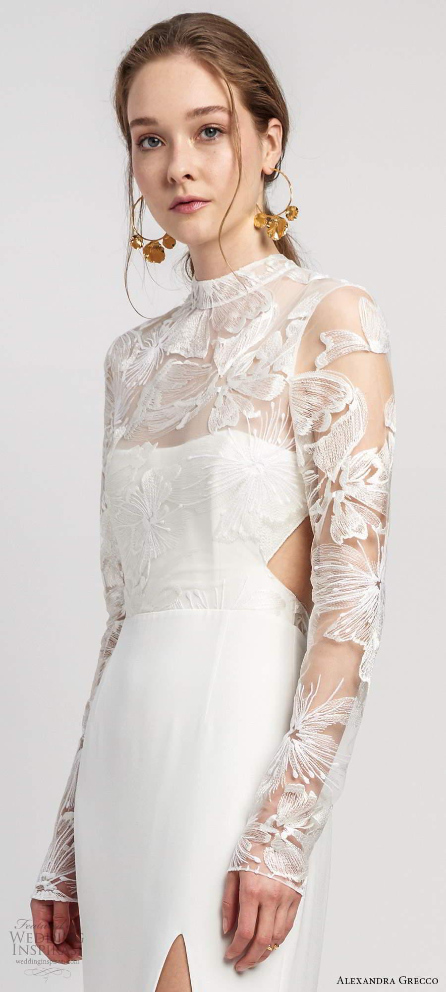 alexandra grecco 2020 bridal illusion long sleeves sheer high necklinge embellished lace bodice sheath wedding dress slit skirt cutout back cathedral train (4) zv