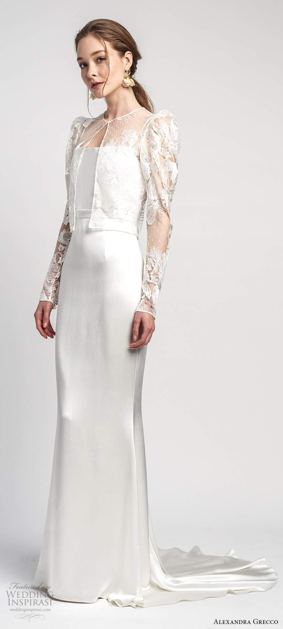 alexandra grecco 2020 bridal illusion puff sleeve jacket sleeveless thin straps straight across neckline sheath wedding dress chapel train (9) mv