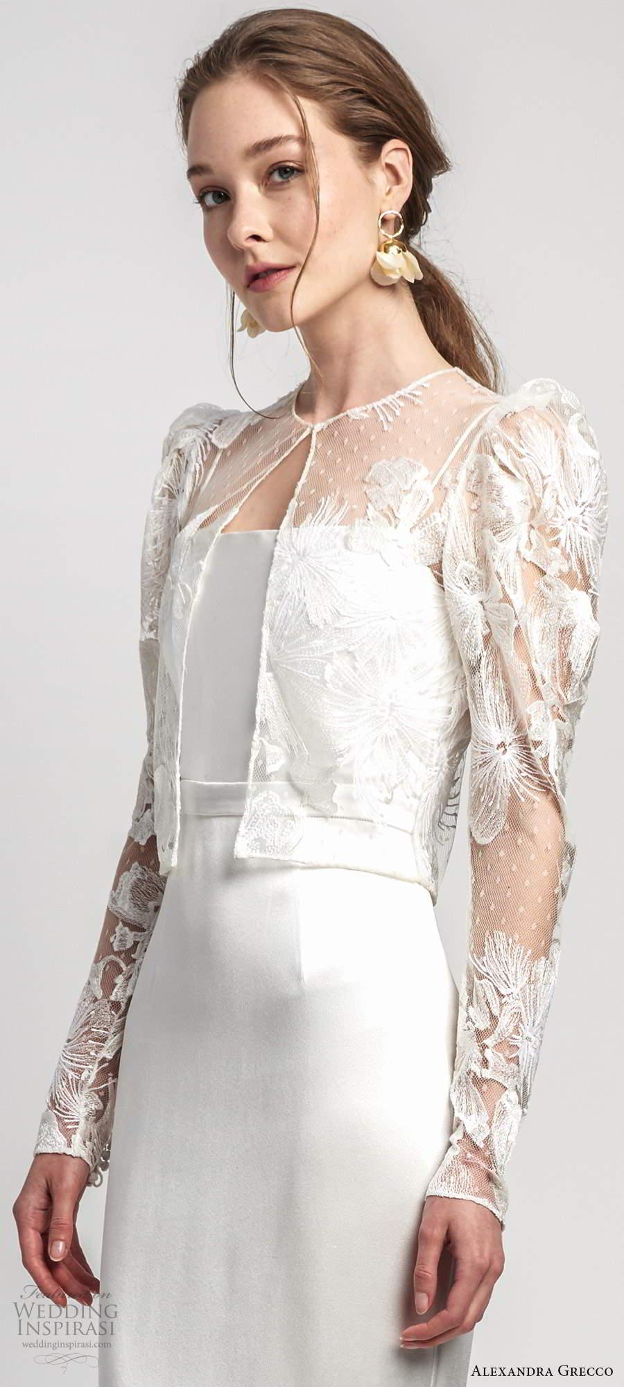 alexandra grecco 2020 bridal illusion puff sleeve jacket sleeveless thin straps straight across neckline sheath wedding dress chapel train (9) zv