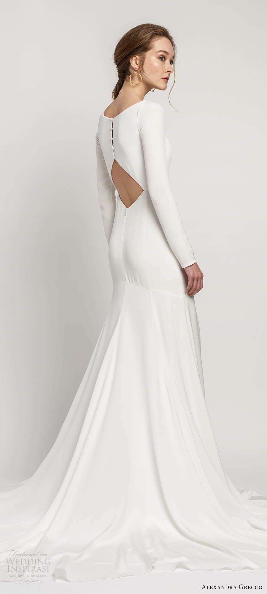 alexandra grecco 2020 bridal long sleeves square neckline minimalist clean fit flare mermaid wedding dress keyhole back chapel train (1) bv