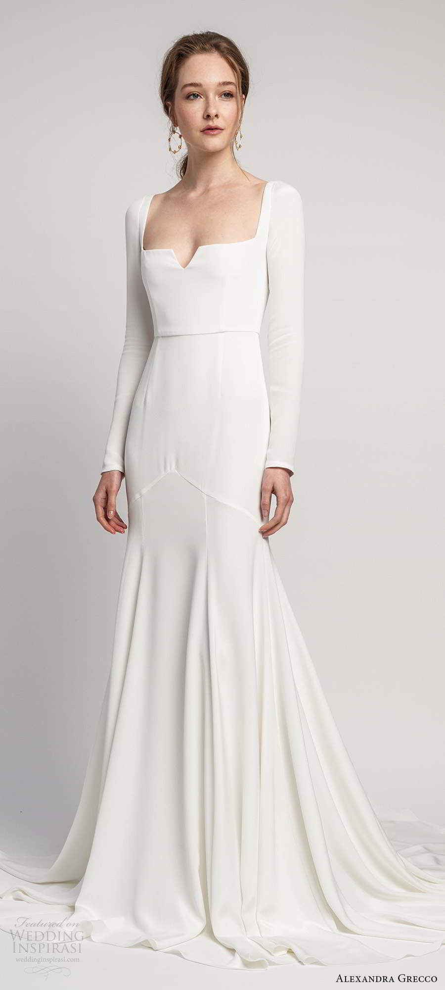 alexandra grecco 2020 bridal long sleeves square neckline minimalist clean fit flare mermaid wedding dress keyhole back chapel train (1) mv