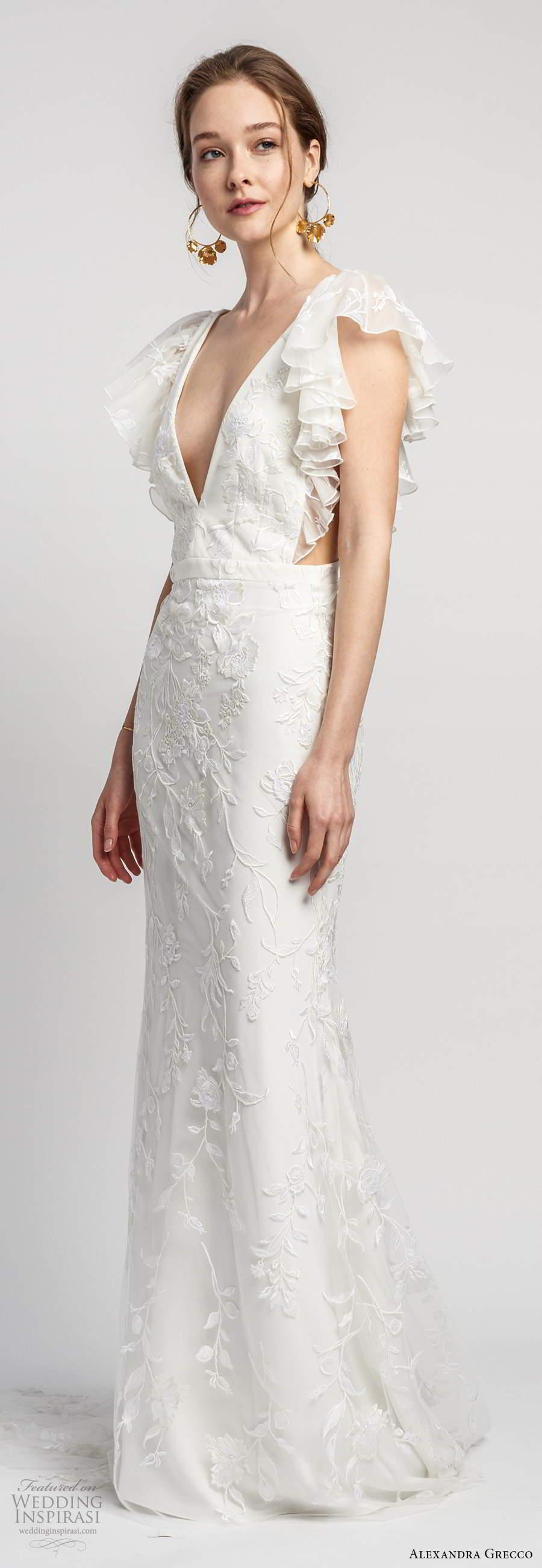 alexandra grecco 2020 bridal short flutter sleeves plunging v neckline side cutouts fully embellished lace trumpet sheath wedding dress v back chapel train (6) mv