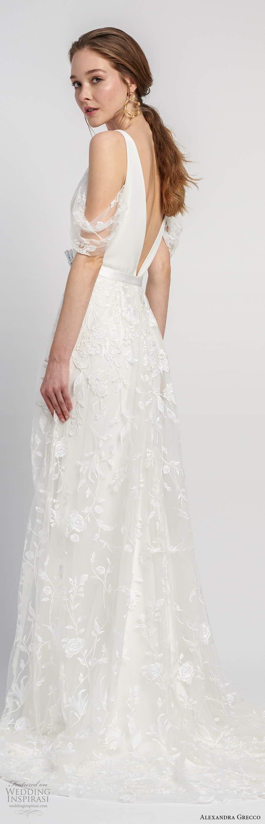 alexandra grecco 2020 bridal sleeveless straps plunging v neckline sheath modern clean minimalist wedding dress a line overskirt v back chapel train (10) bv