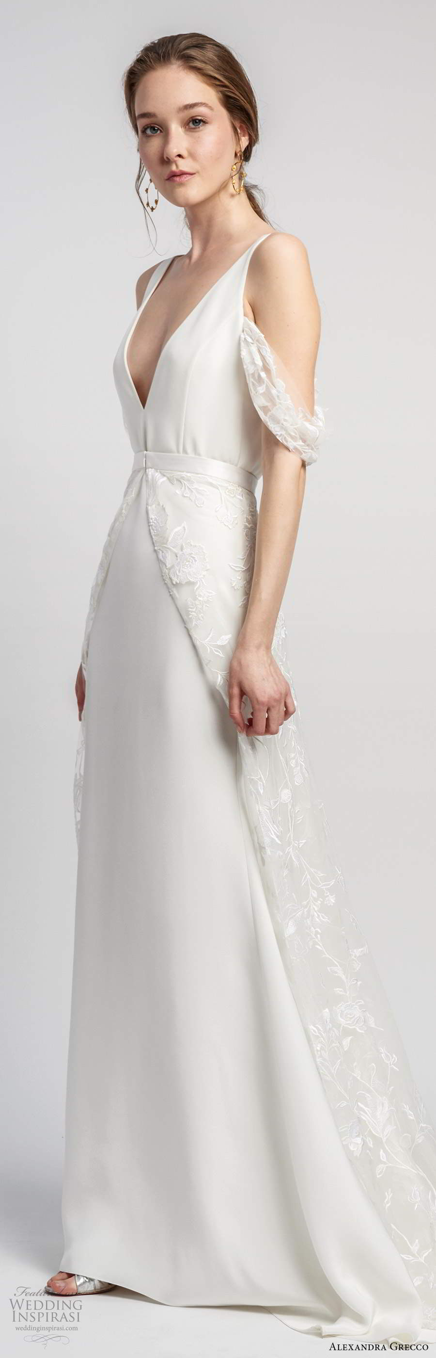 alexandra grecco 2020 bridal sleeveless straps plunging v neckline sheath modern clean minimalist wedding dress a line overskirt v back chapel train (10) mv
