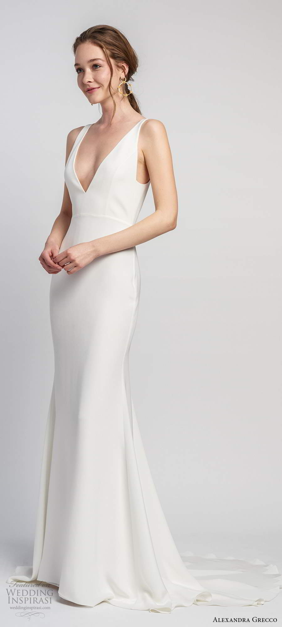 alexandra grecco 2020 bridal sleeveless straps plunging v neckline sheath modern clean minimalist wedding dress v back chapel train (10) mv