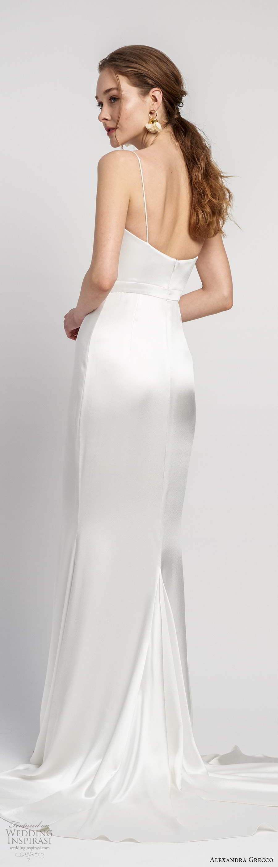 alexandra grecco 2020 bridal sleeveless thin straps straight across neckline sheath wedding dress chapel train (9) bv
