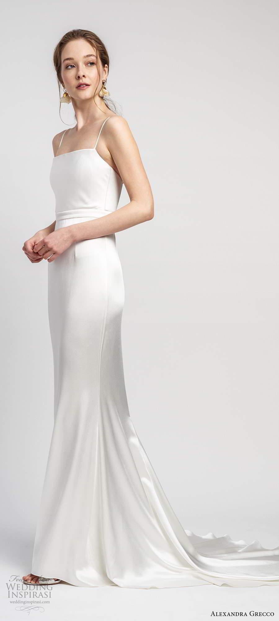 alexandra grecco 2020 bridal sleeveless thin straps straight across neckline sheath wedding dress chapel train (9) mv