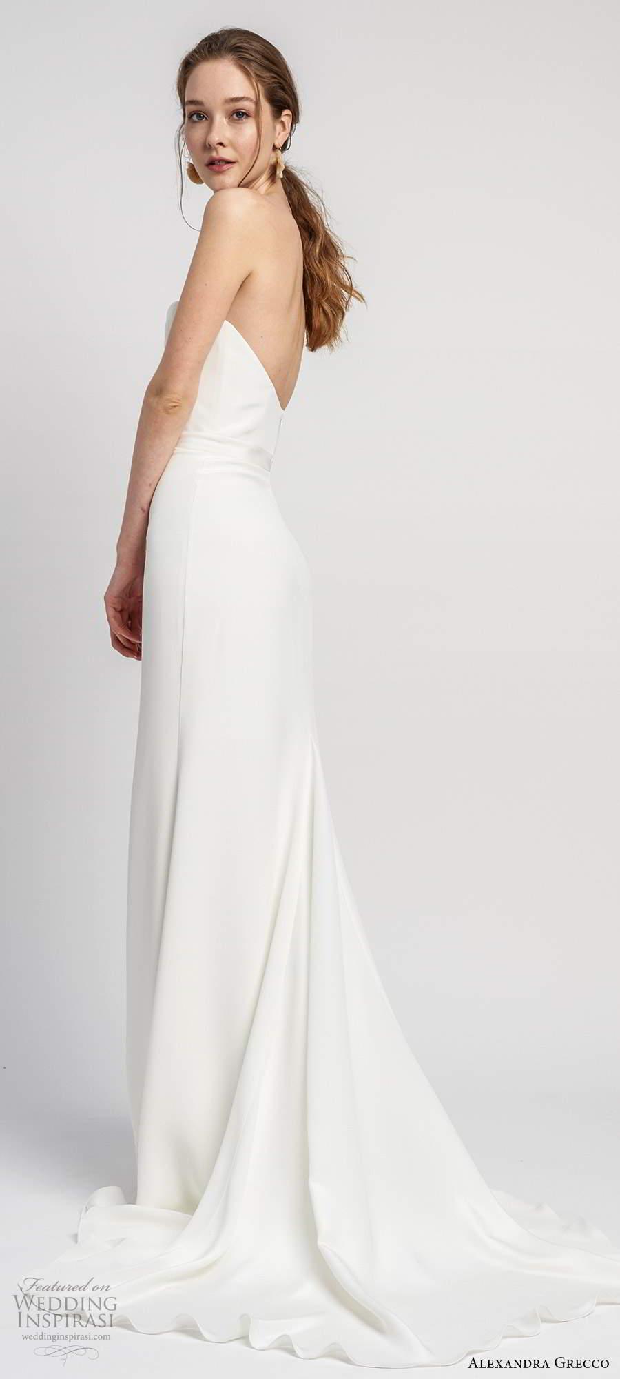 alexandra grecco 2020 bridal strapless semi sweetheart neckline sheath trumpet mermaid clean minimalist wedding dress scoop back chapel train (5) bv