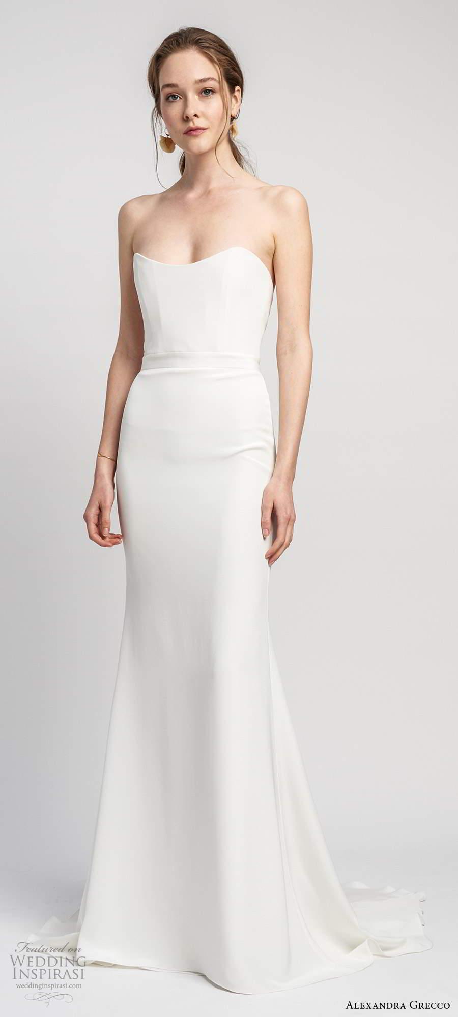 alexandra grecco 2020 bridal strapless semi sweetheart neckline sheath trumpet mermaid clean minimalist wedding dress scoop back chapel train (5) mv