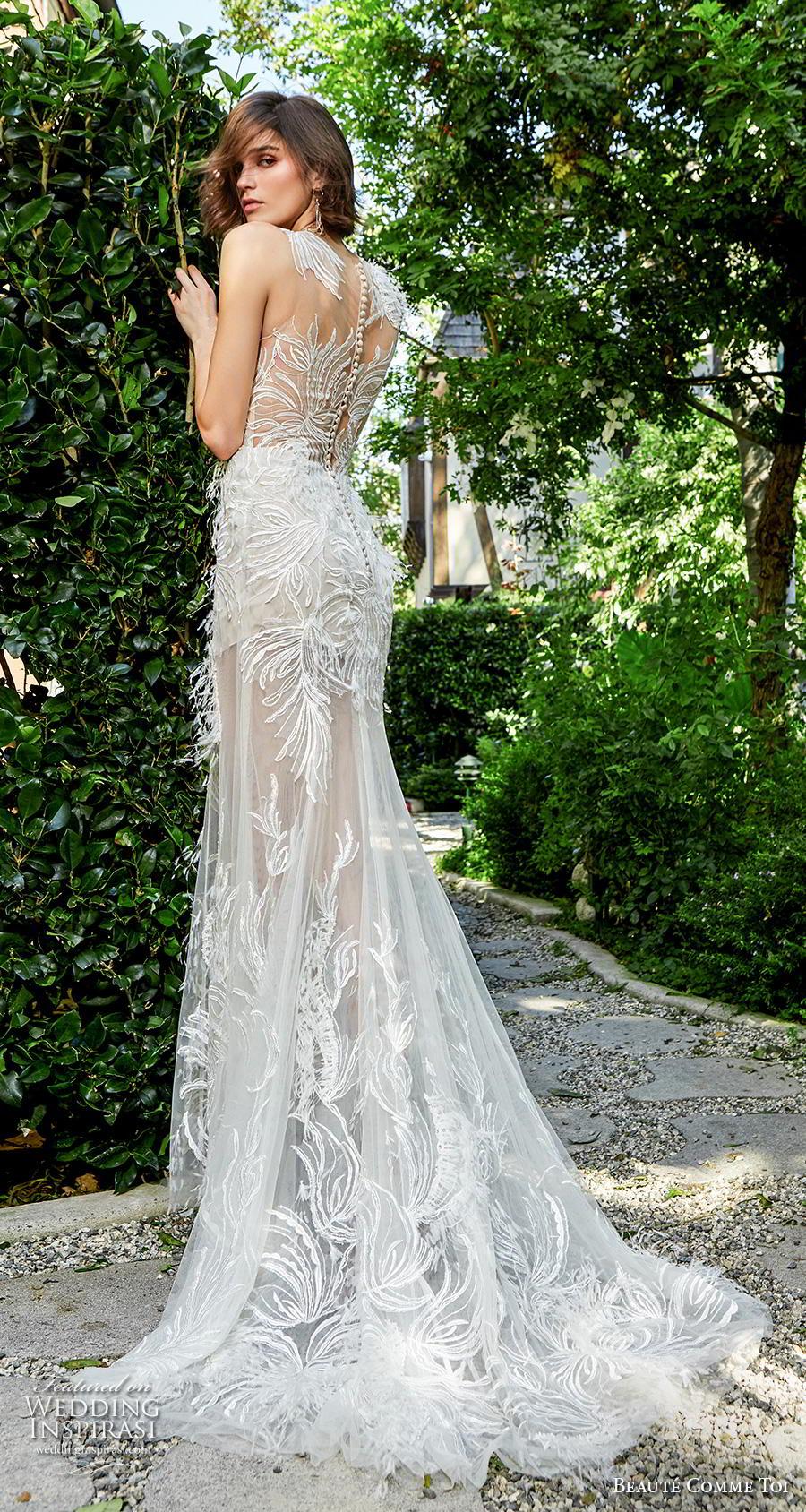 beaute comme toi f2020 bridal feather one shoulder sleeves illusion neckline full embellishment elegant glamorous fit and flare sheath wedding dress lace button back medium train (miya) bv