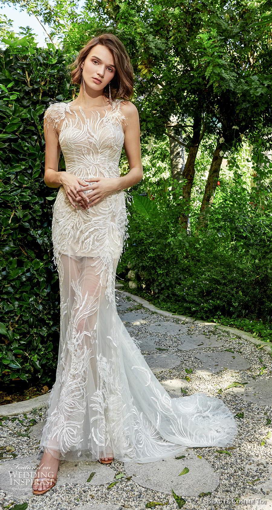 beaute comme toi f2020 bridal feather one shoulder sleeves illusion neckline full embellishment elegant glamorous fit and flare sheath wedding dress lace button back medium train (miya) mv
