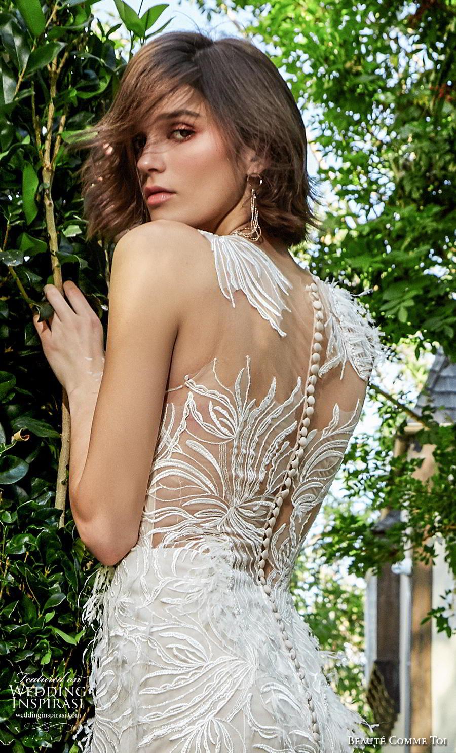 beaute comme toi f2020 bridal feather one shoulder sleeves illusion neckline full embellishment elegant glamorous fit and flare sheath wedding dress lace button back medium train (miya) zv