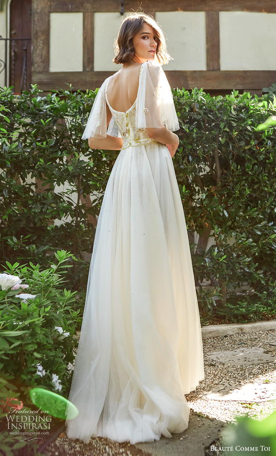 beaute comme toi f2020 bridal half flare sleeves scoop neckline heavily embellished bodice romantic soft a  line wedding dress mid back sweep train (iris) bv