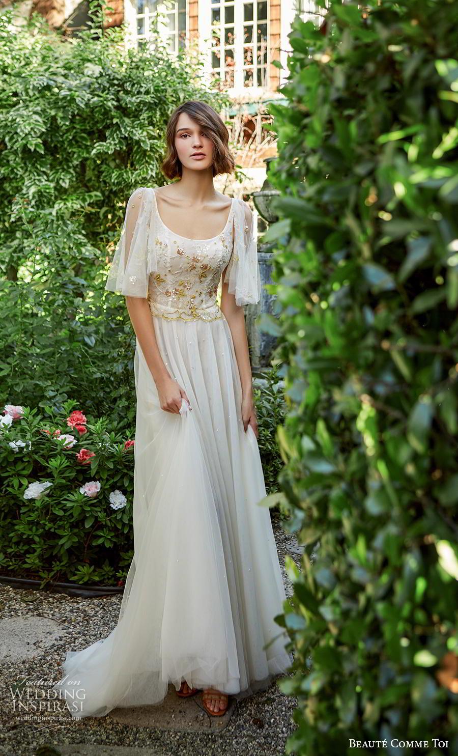 beaute comme toi f2020 bridal half flare sleeves scoop neckline heavily embellished bodice romantic soft a  line wedding dress mid back sweep train (iris) mv