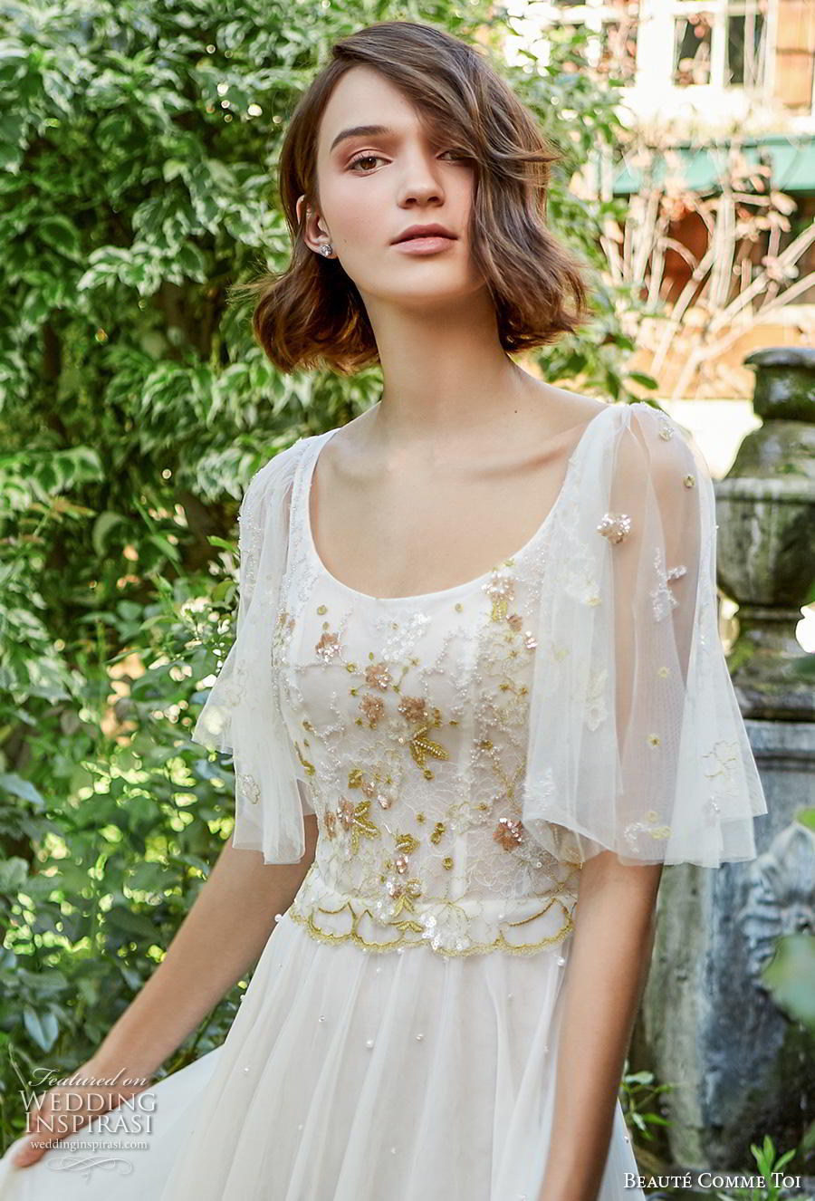 beaute comme toi f2020 bridal half flare sleeves scoop neckline heavily embellished bodice romantic soft a  line wedding dress mid back sweep train (iris) zv