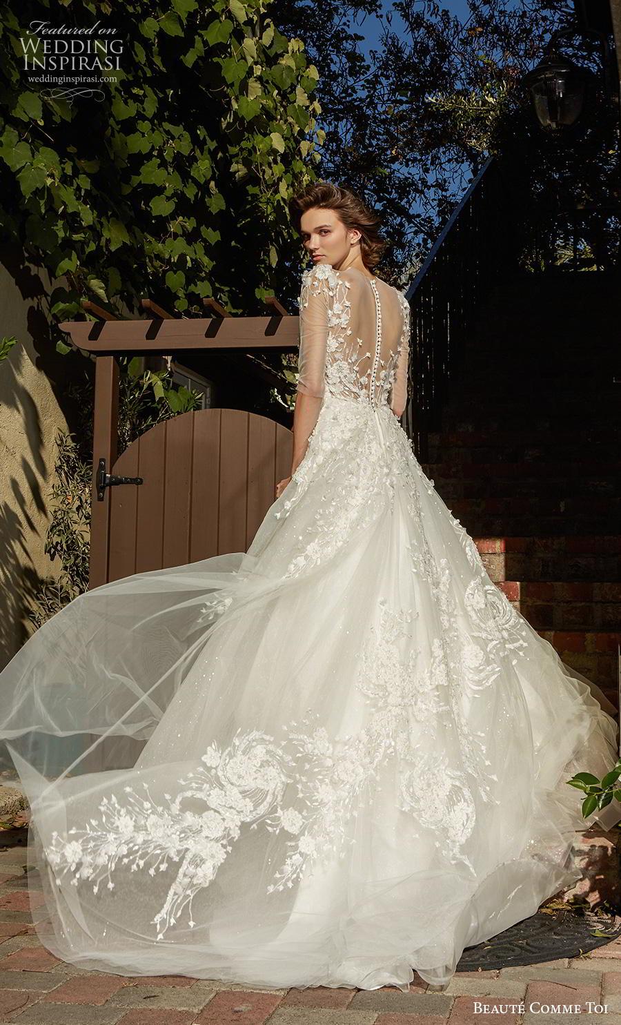 beaute comme toi f2020 bridal half sleeves illusion jewel sweetheart neckline heavily embellished bodice romantic a  line wedding dress sheer button back chapel train (avivi) bv