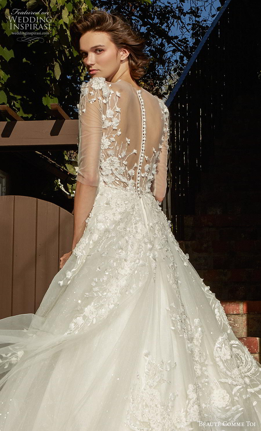 beaute comme toi f2020 bridal half sleeves illusion jewel sweetheart neckline heavily embellished bodice romantic a  line wedding dress sheer button back chapel train (avivi) zbv