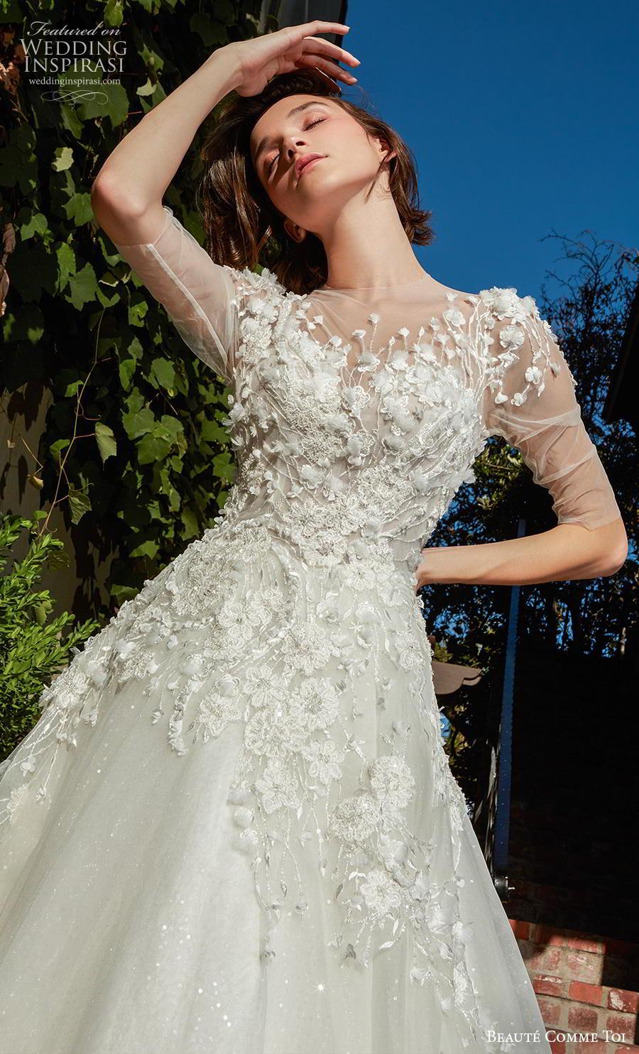 beaute comme toi f2020 bridal half sleeves illusion jewel sweetheart neckline heavily embellished bodice romantic a  line wedding dress sheer button back chapel train (avivi) zv