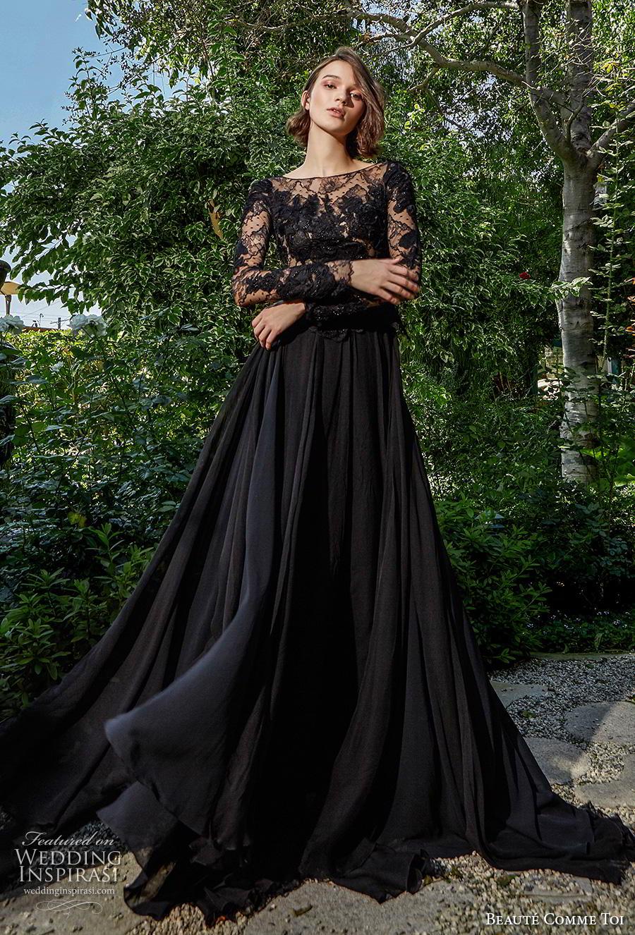 beaute comme toi f2020 bridal long sleeves bateau neckline heavily embellished bodice elegant black a  line weddig dress (meredith) mv