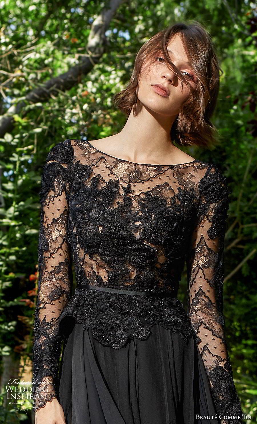 beaute comme toi f2020 bridal long sleeves bateau neckline heavily embellished bodice elegant black a  line weddig dress (meredith) zv