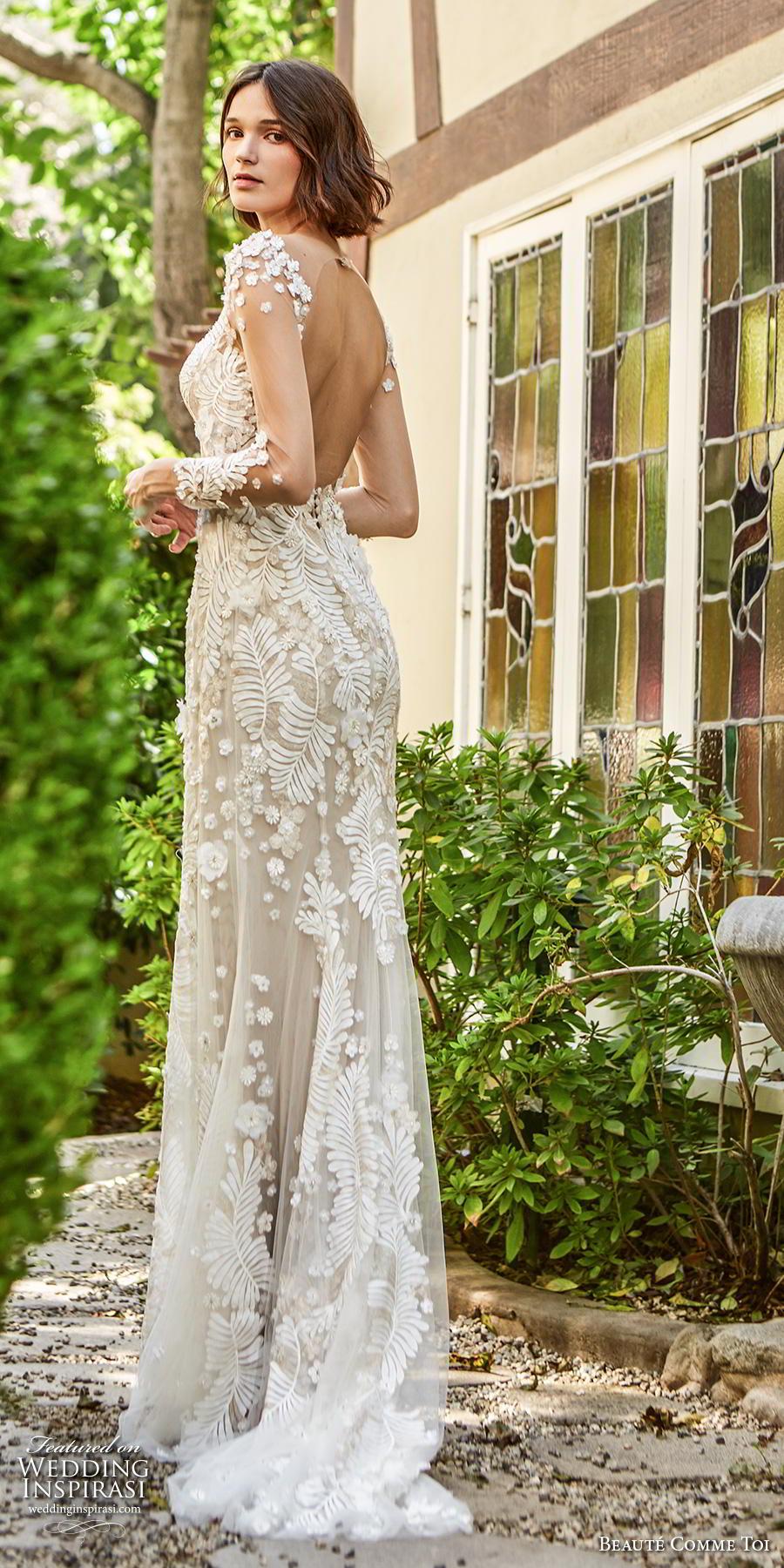 beaute comme toi f2020 bridal long sleeves illusion bateau neckline full embellishment elegant sheath wedding dress backless low back short train (daphne) bv