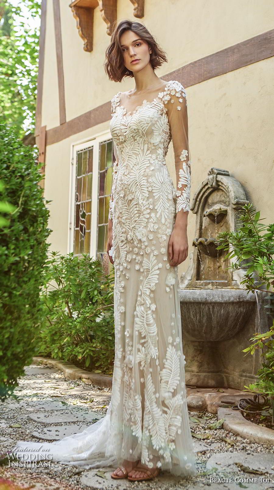 beaute comme toi f2020 bridal long sleeves illusion bateau neckline full embellishment elegant sheath wedding dress backless low back short train (daphne) mv