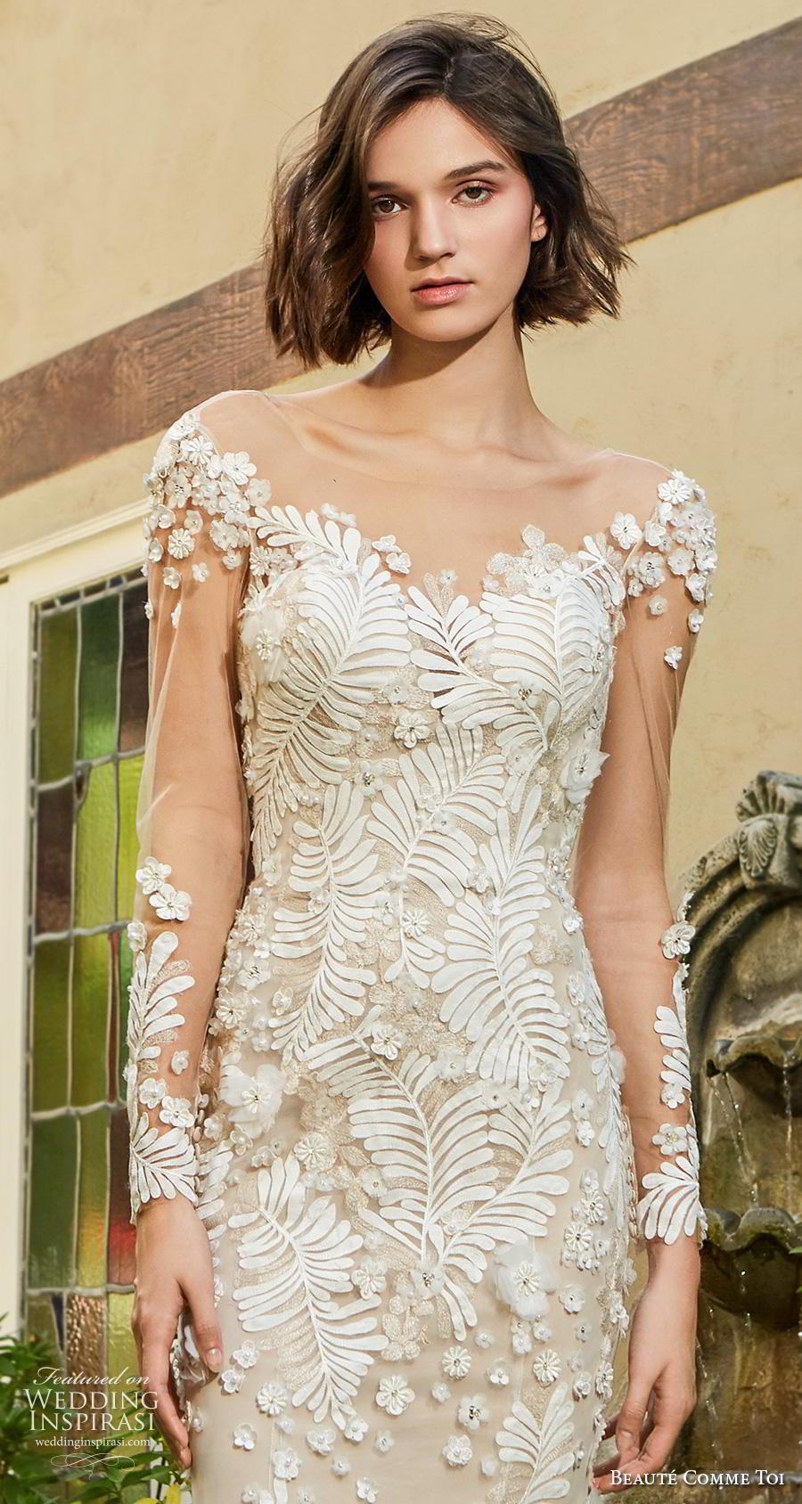 beaute comme toi f2020 bridal long sleeves illusion bateau neckline full embellishment elegant sheath wedding dress backless low back short train (daphne) zv