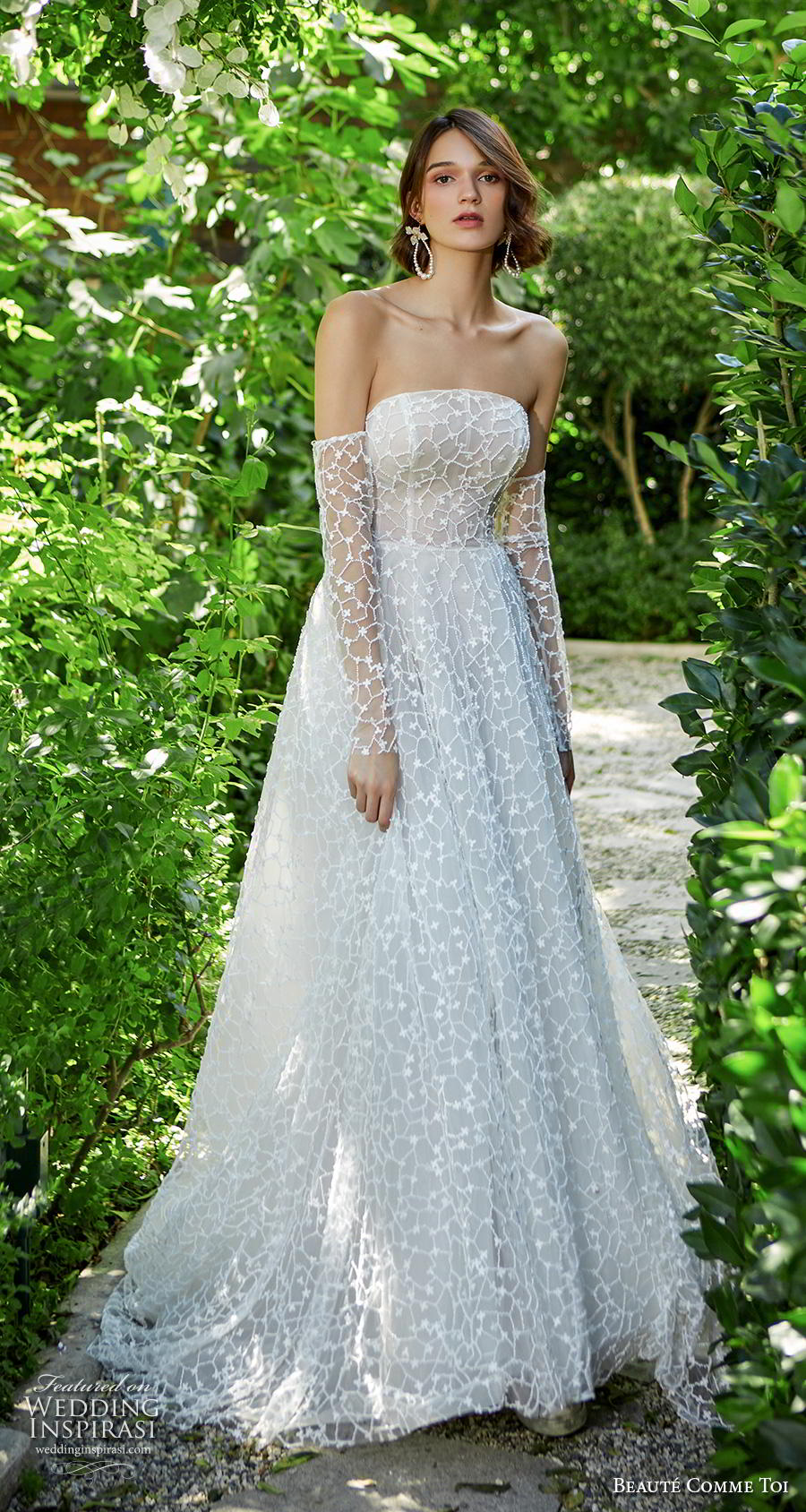 beaute comme toi f2020 bridal off the shoulder long sleeves strapless straight across neckline full embellished bodice romantic a  line wedding dress mid back chapel train (beata) mv
