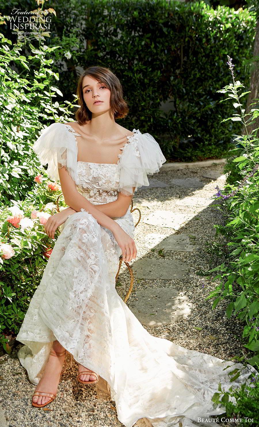 beaute comme toi f2020 bridal short handkerchief sleeves square neckline full embellishment romantic fit and flare wedding dress backless back chapel train (clover) mv