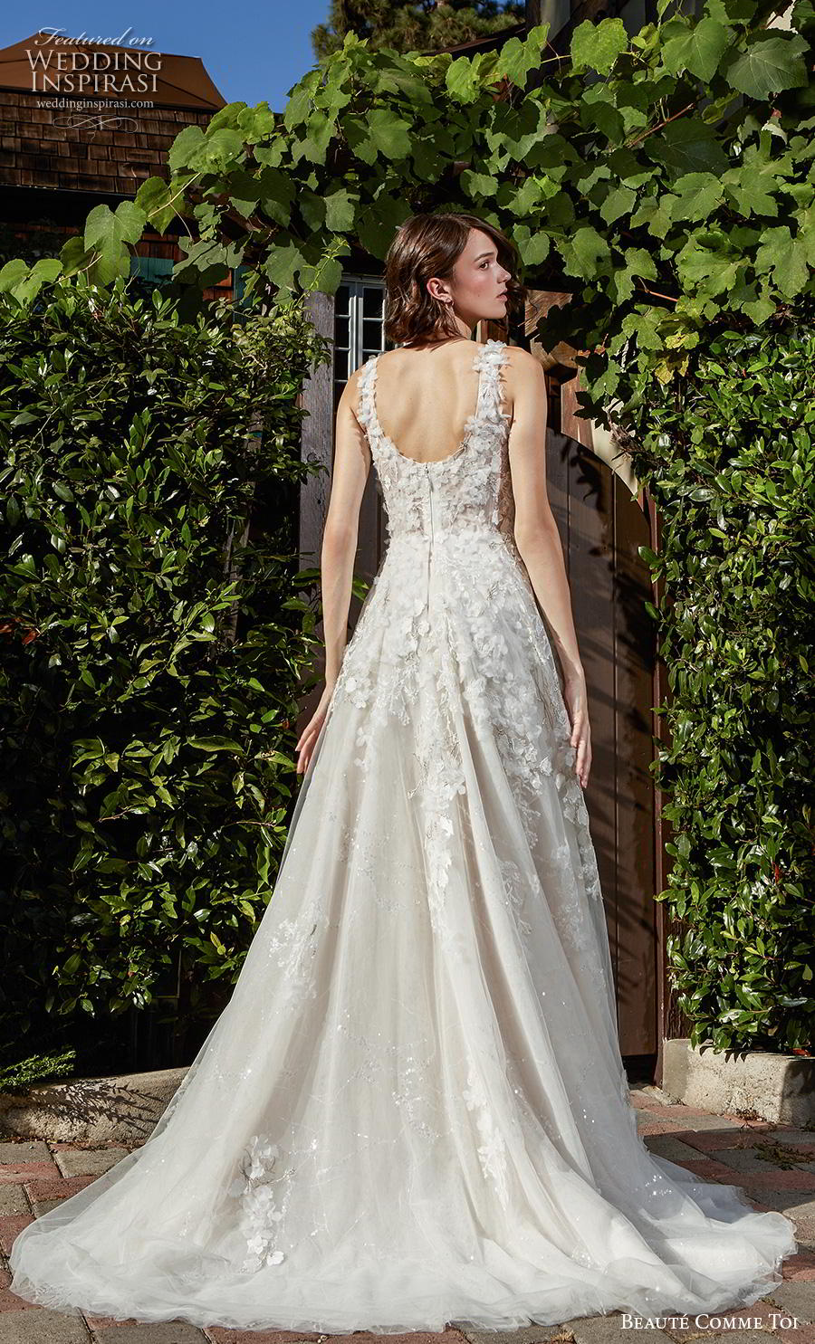 beaute comme toi f2020 bridal sleeveless embroidered strap deep plunging v neck heavily embellished bodice romantic sexy a  line wedding dress square back chapel train (jocelyn) bv
