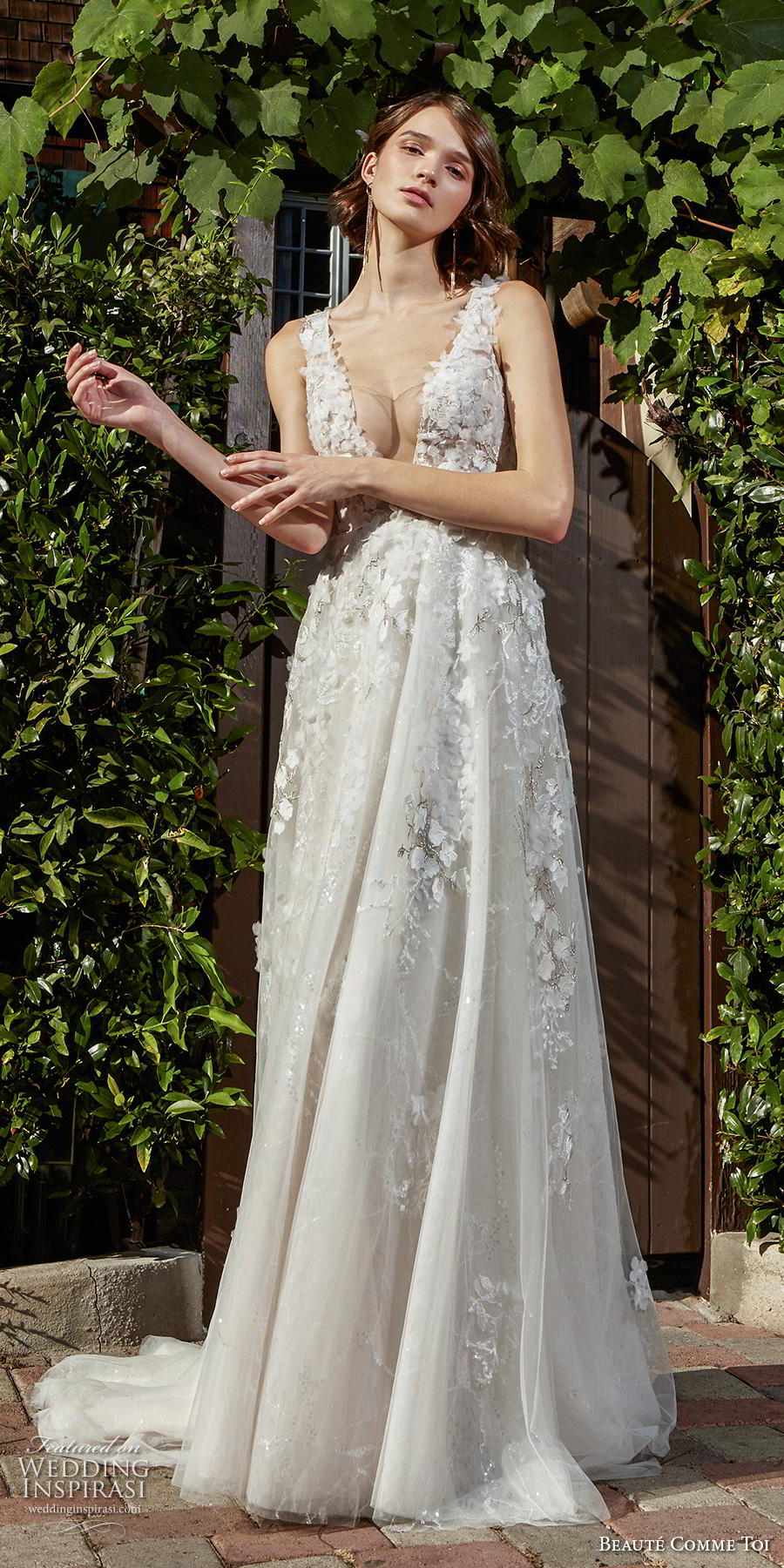 beaute comme toi f2020 bridal sleeveless embroidered strap deep plunging v neck heavily embellished bodice romantic sexy a  line wedding dress square back chapel train (jocelyn) fv
