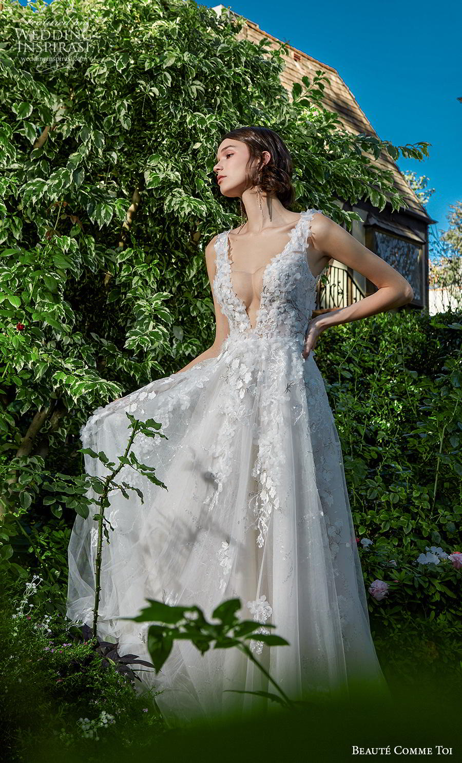 beaute comme toi f2020 bridal sleeveless embroidered strap deep plunging v neck heavily embellished bodice romantic sexy a  line wedding dress square back chapel train (jocelyn) mv