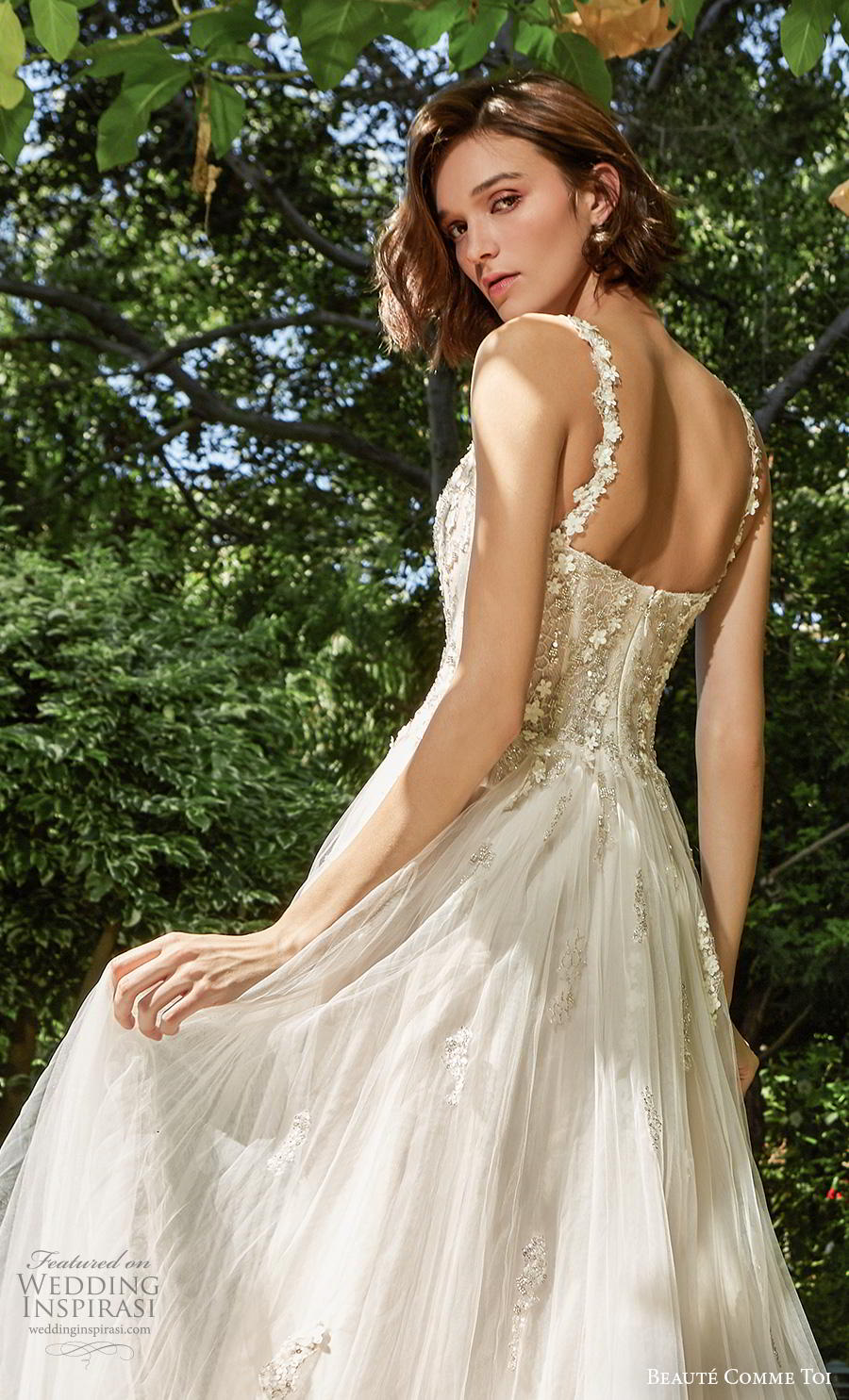 beaute comme toi f2020 bridal sleeveless embroidered strap sweetheart neckline heavily embellished bodice bustier romantic soft a  line wedding dress mid back chapel train (tessa) zbv