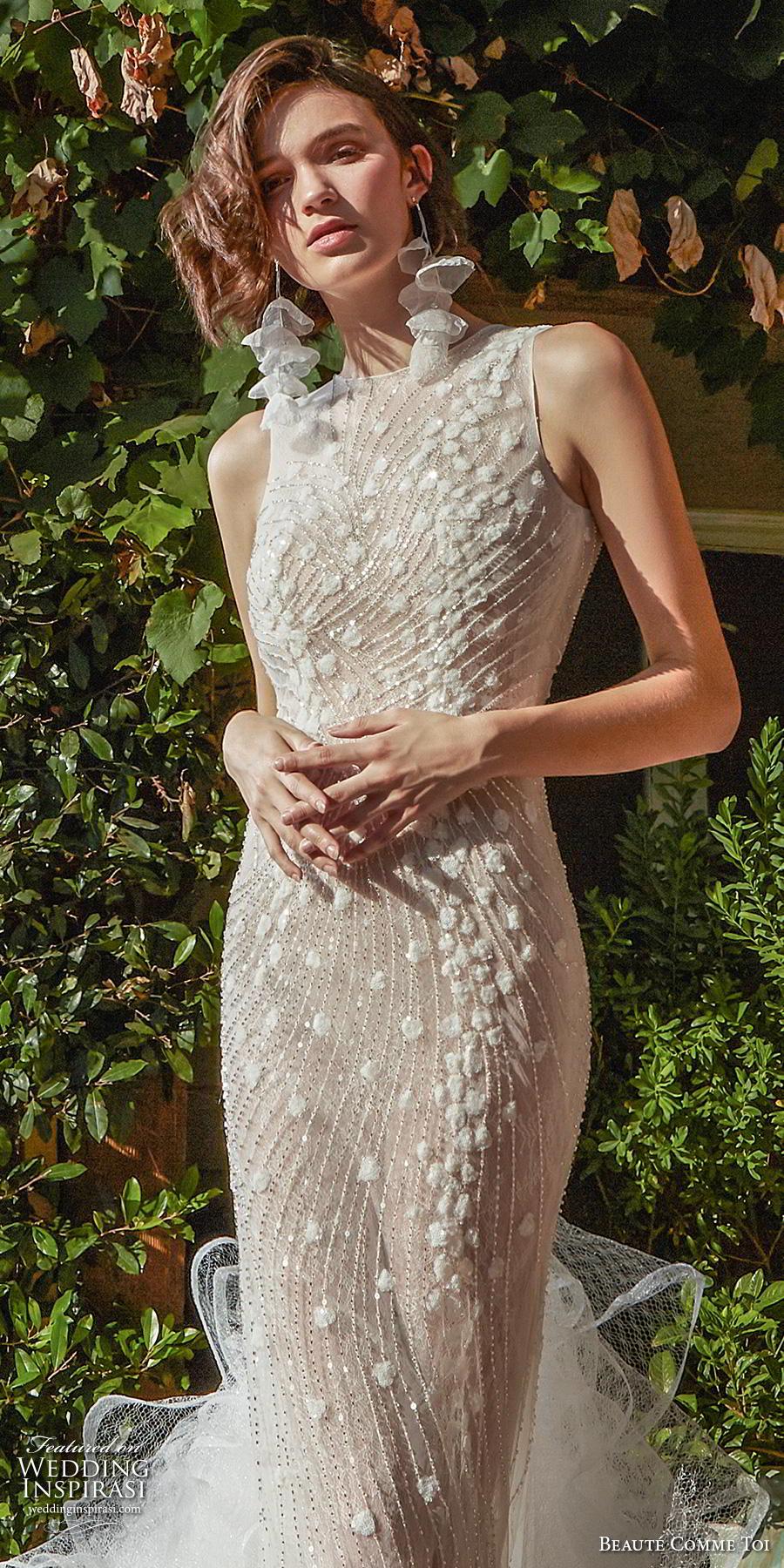 beaute comme toi f2020 bridal sleeveless halter jewel neck full embellishment elegant glamorous sheath wedding dress backless v back ruffled long train (zinnia) zv