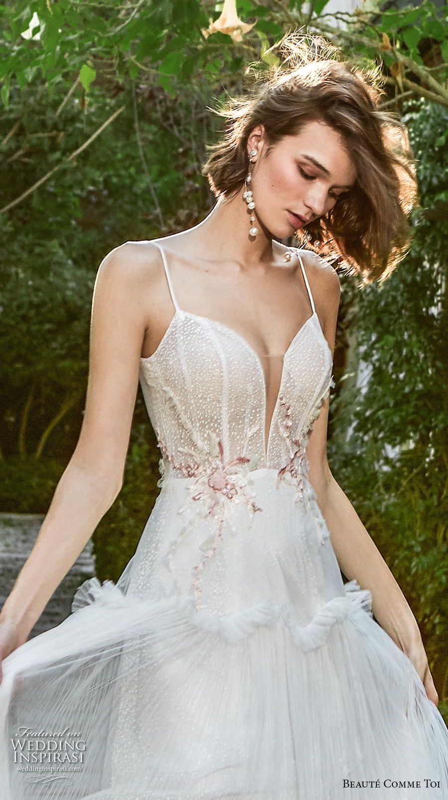 beaute comme toi f2020 bridal sleeveless spaghetti strap deep sweetheart neckline heavily embellished bodice simple romantic sexy soft a  line wedding dress mid back sweep train (ellie) zv