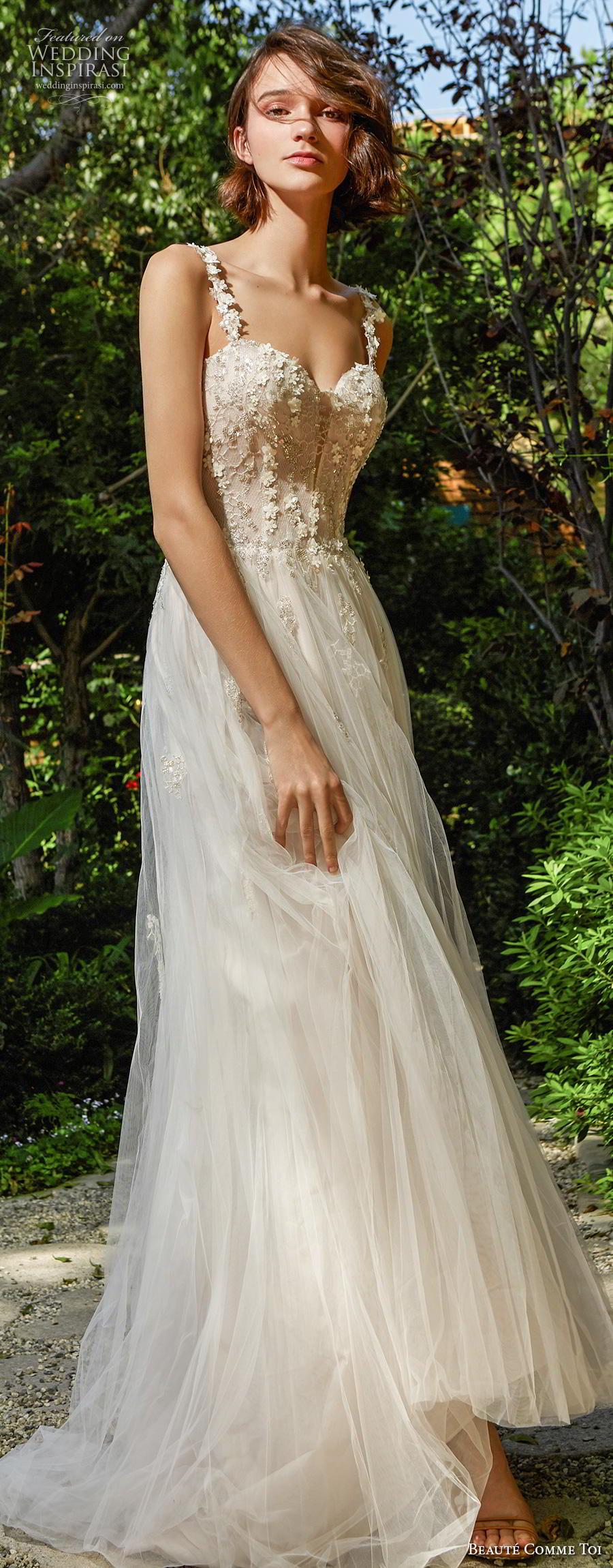 beaute comme toi f2020 bridal sleeveless strap sweetheart neckline heavily embellished bodice bustier romantic soft a  line wedding dress mid back chapel train (tessa) lv