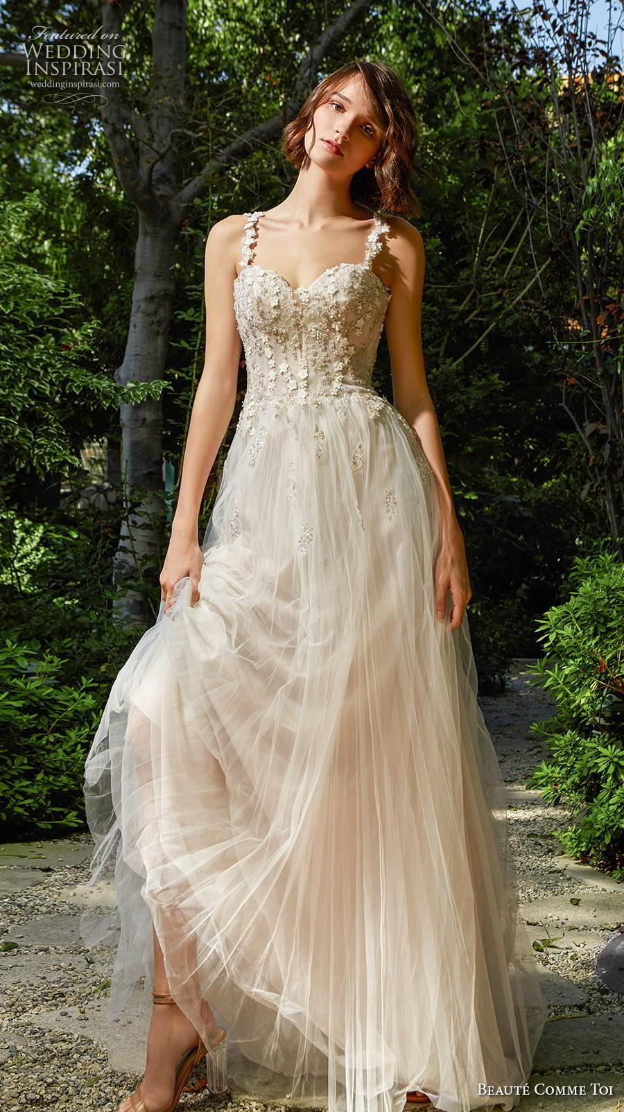 beaute comme toi f2020 bridal sleeveless strap sweetheart neckline heavily embellished bodice bustier romantic soft a  line wedding dress mid back chapel train (tessa) mv