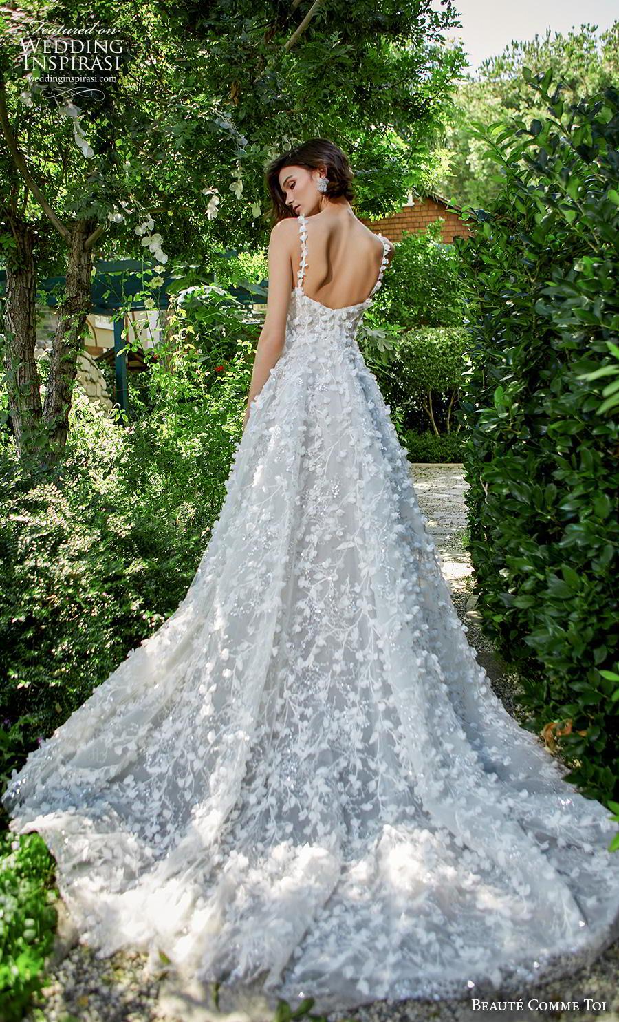 beaute comme toi f2020 bridal sleeveless thin strap scoop neckline full embellishment romantic pretty soft a  line wedding dress backless chapel train (amy) bv