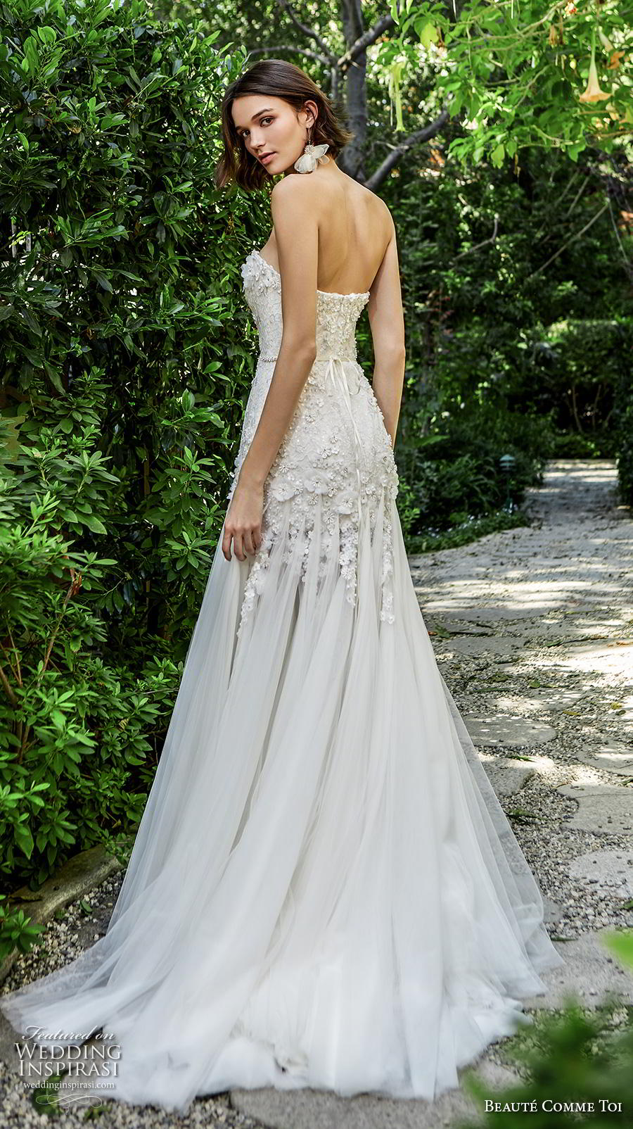beaute comme toi f2020 bridal strapless sweetheart neckline heavily embellished bodice romantic drop waist modified a  line wedding dress mid back sweep train (cora) bv