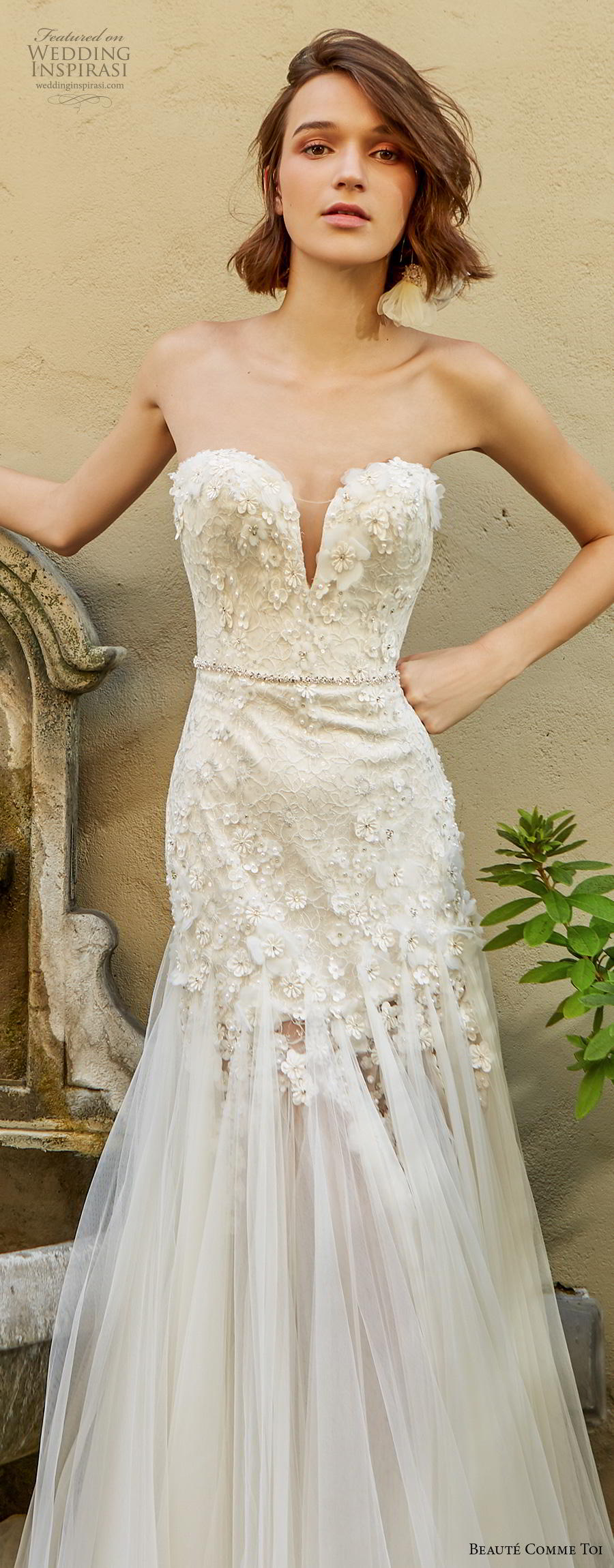 beaute comme toi f2020 bridal strapless sweetheart neckline heavily embellished bodice romantic drop waist modified a  line wedding dress mid back sweep train (cora) lv