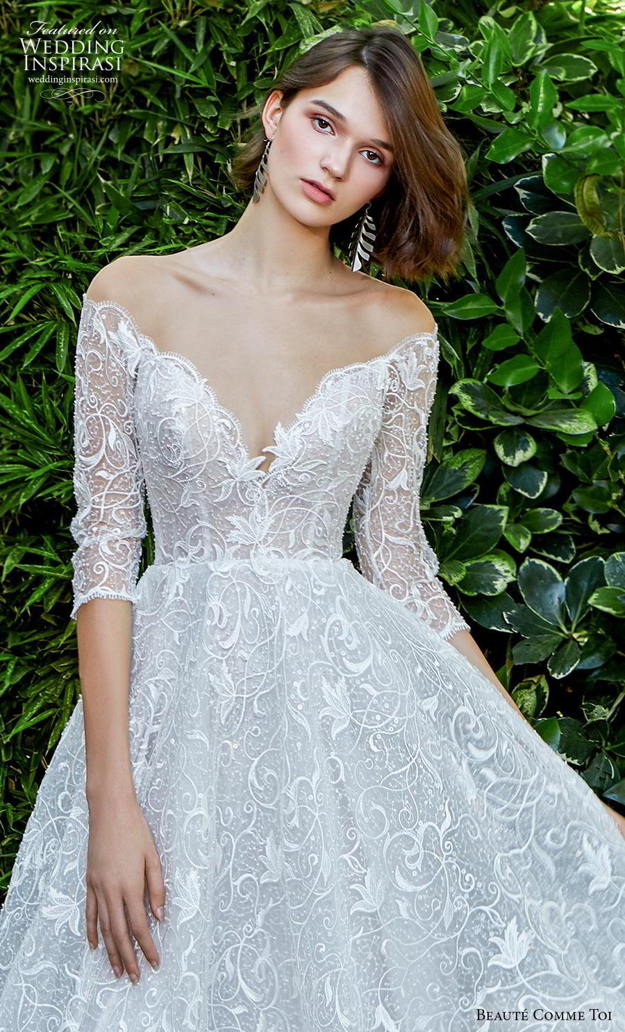 beaute comme toi f2020 bridal three quarter sleeves off the shoulder v neck full embellishment romantic pretty a  line wedding dress sheer button back chapel train (wistaria) zv