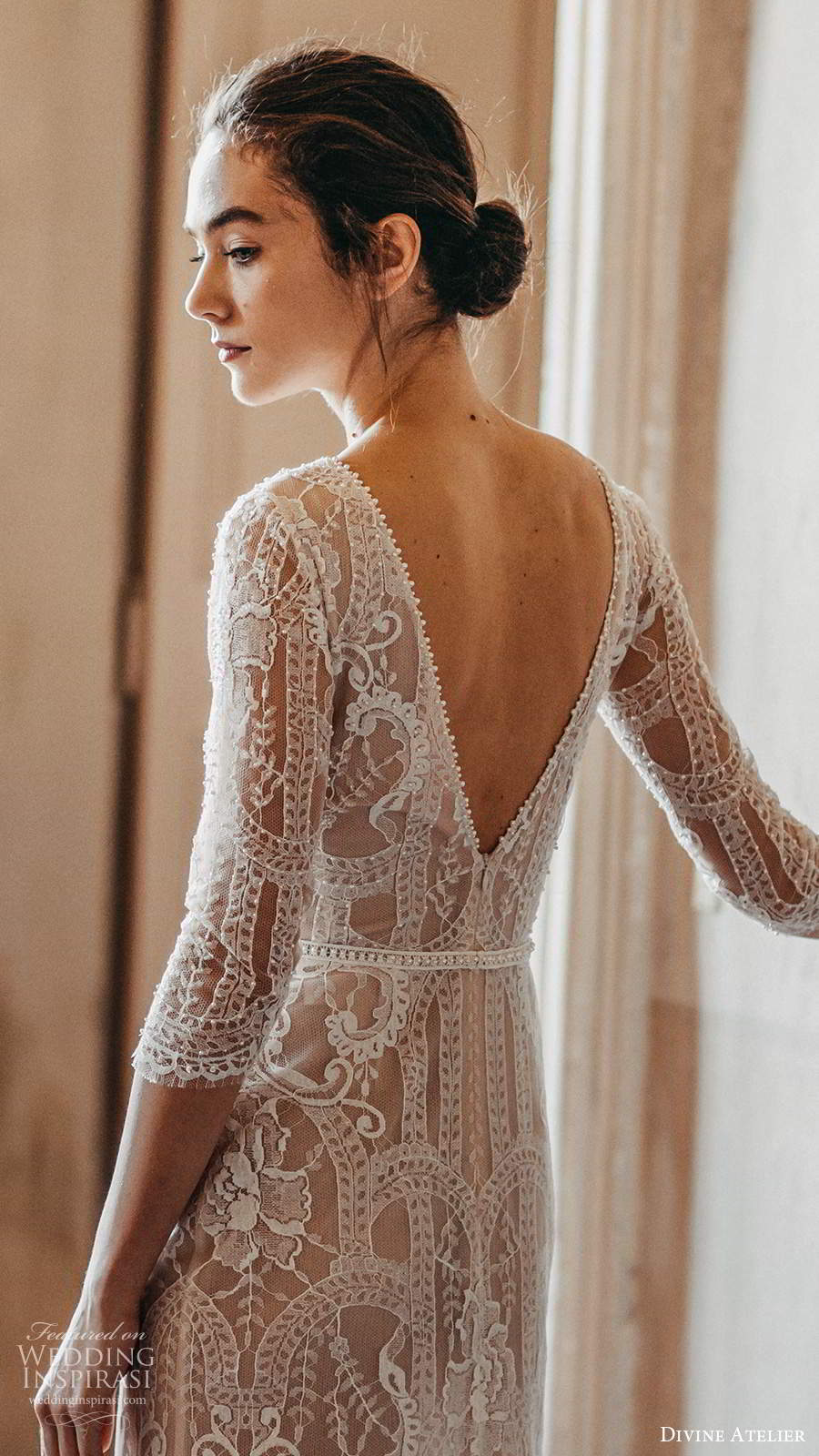 divine atelier 2020 bridal 3 quarter sleeves bateau neckline fully embellished elagnt a line wedding dress v back sweep train (5) zbv