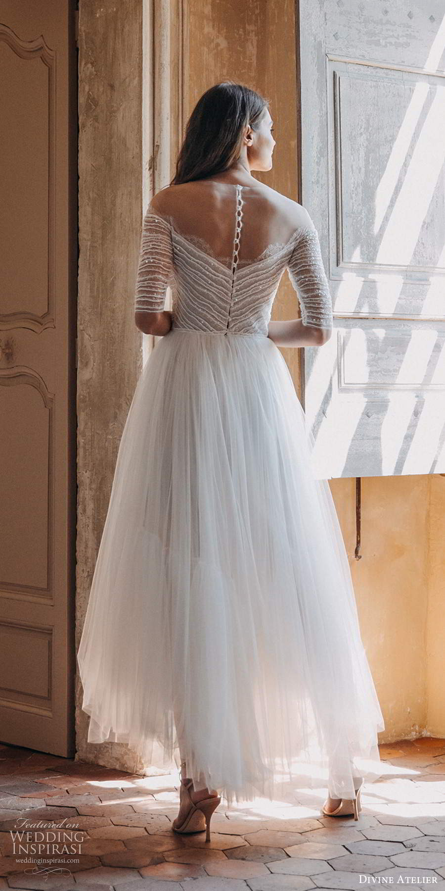 divine atelier 2020 bridal sheer half sleeves off shoulder sweetheart neckline ruched bodice a line tea length high low wedding dress (15) bv