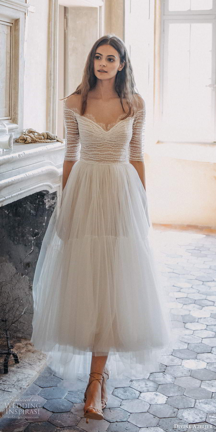 divine atelier 2020 bridal sheer half sleeves off shoulder sweetheart neckline ruched bodice a line tea length high low wedding dress (15) mv