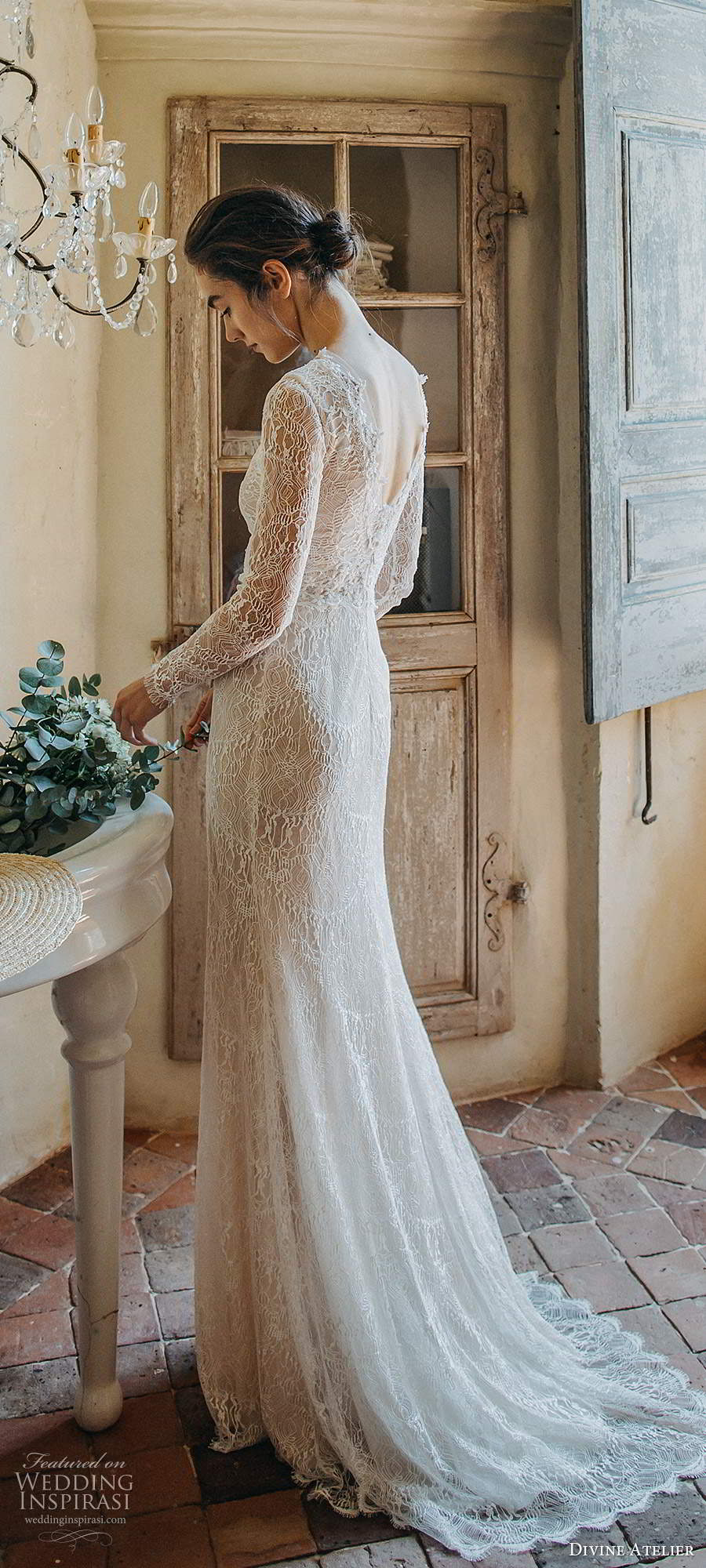 divine atelier 2020 bridal sheer long sleeves v neckline fully embellished lace elegant trumpet a line wedding dress scoop back sweep train (3) bv