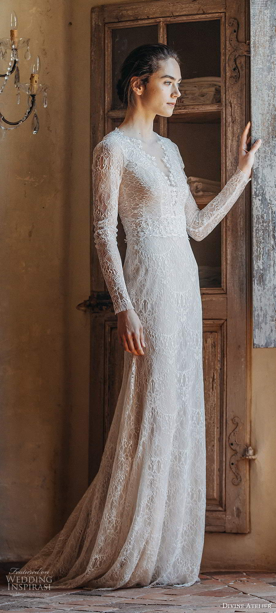 divine atelier 2020 bridal sheer long sleeves v neckline fully embellished lace elegant trumpet a line wedding dress scoop back sweep train (3) mv