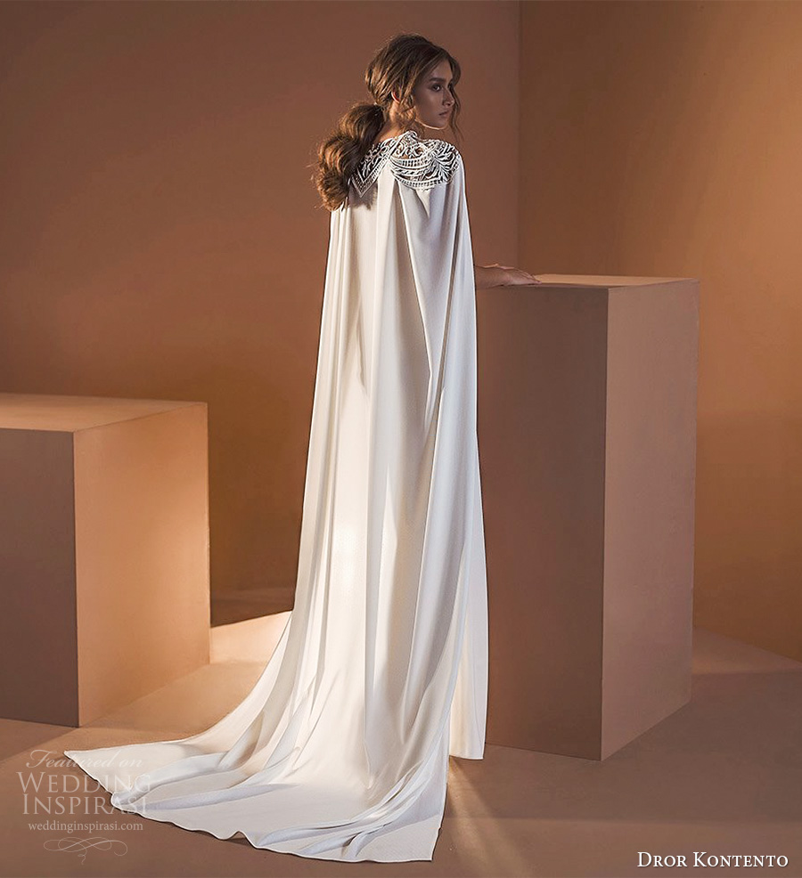 dror kontento 2020 bridal long cape sleeves high neckline embellished lace sheer bodice column sheath wedding dress with cape slit skirt chapel train (6) bv